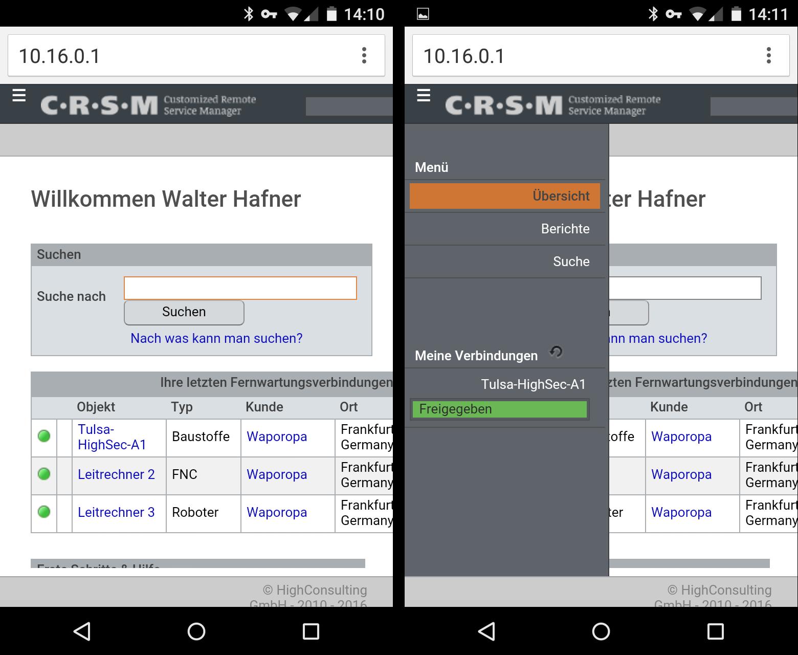Smartphone CRSM Oberfläche
